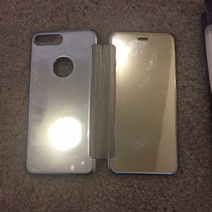 9b015c7a0c6 no brand Accessories - iPhone 7 Plus silver mirror flip wallet phone case